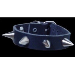 1 row small smooth spike leather wristband