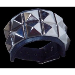 2 row pyramid stud leather wristband