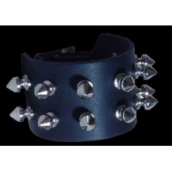 2 row spike stud leather wristband