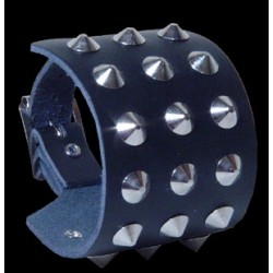 3 row conical leather wristband