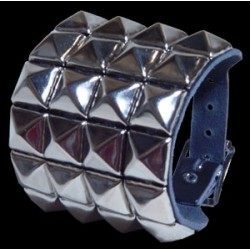 4 row pyramid stud leather wristband