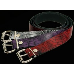 cobweb print leather belt