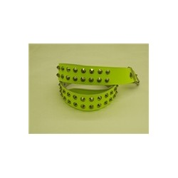 YELLOW leather belt 2 row conical stud