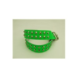 GREEN leather belt 2 row conical stud