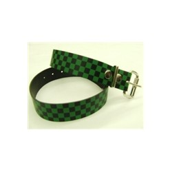 CHECK GRN leather belt
