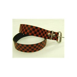 CHECK BLK RED leather belt