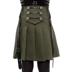Dark Academy Mini Skirt KHAKI
