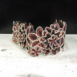 CHR097 BLACK-RED-GOLD LACE...