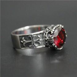 SSTRG0151  Κορωνα με κοκκινο σκουρο κρυσταλλο και σταυρους στο πλαι