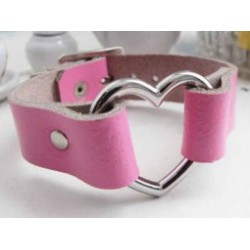 LBR0057 HEART WRISTBAND PINK LEATHER
