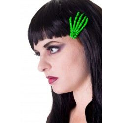 SCELETON HAND HAIR CLIP GREEN