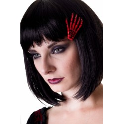 SCELETON HAND HAIR CLIP RED