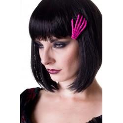 SCELETON HAND HAIR CLIP PINK CERISE