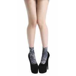 LACE FRILL PRINTED ANKLE SOCKS